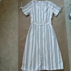 NWT Madewell Nicola Blue Stripe Tie Button Dress 6